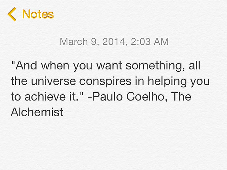 Screenshot of quote by Paulo Coelho from The Alchemist