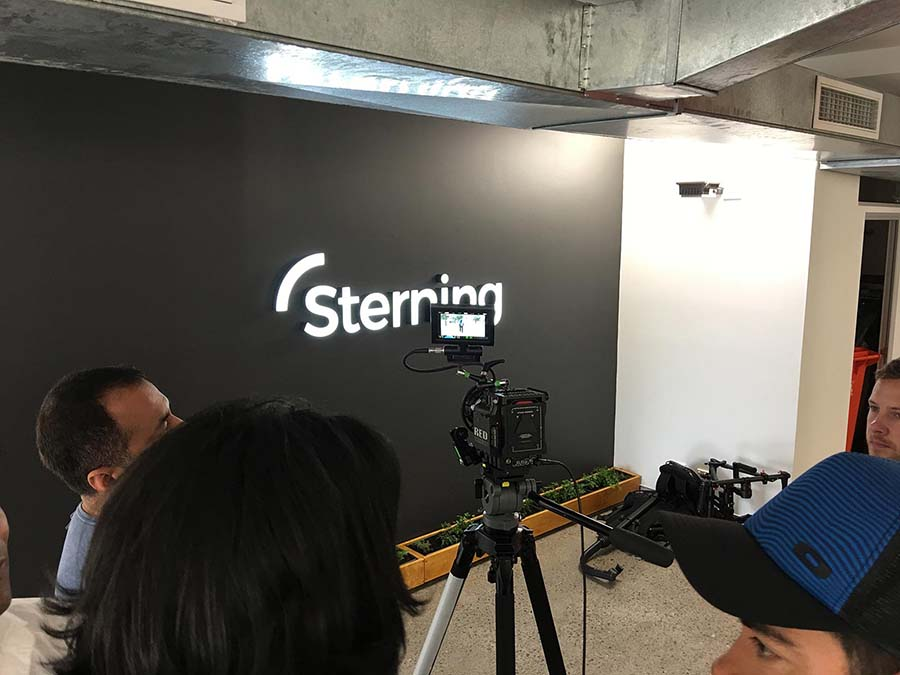 Sterning logo on wall of Sydney office