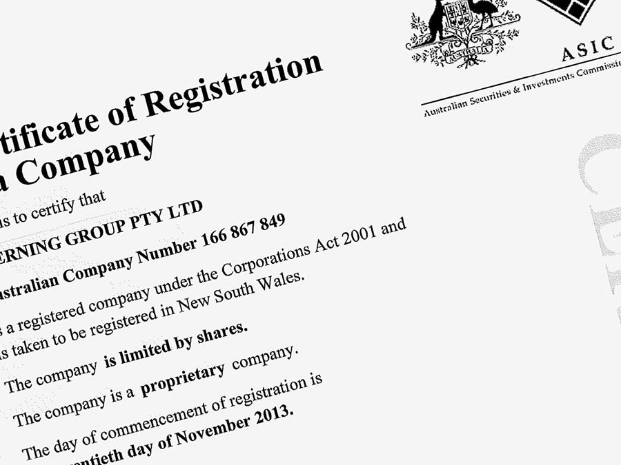 Certificate of Registration of a Company for Sterning
