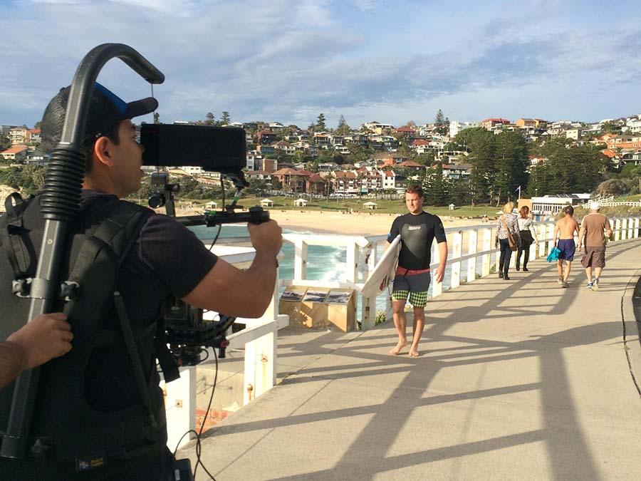 Ben Lyons being filmed
