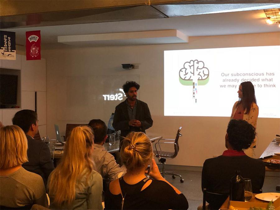 Kaushik Ram and Kirsty Carr presenting